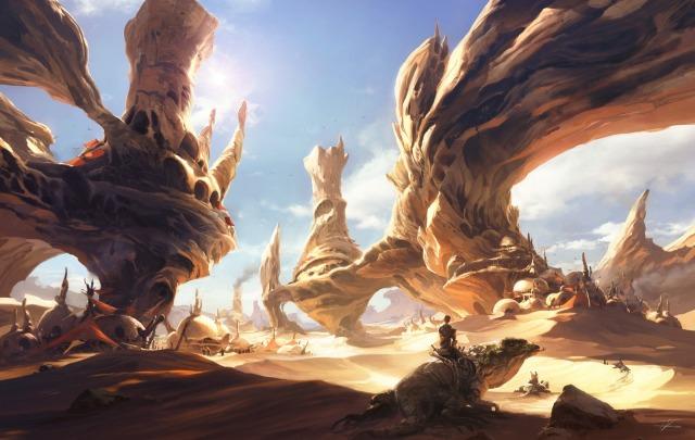 1600x1014_13396_News_from_The_Horizon_2d_fantasy_landscape_desert_sun_lizard_picture_image_digital_art